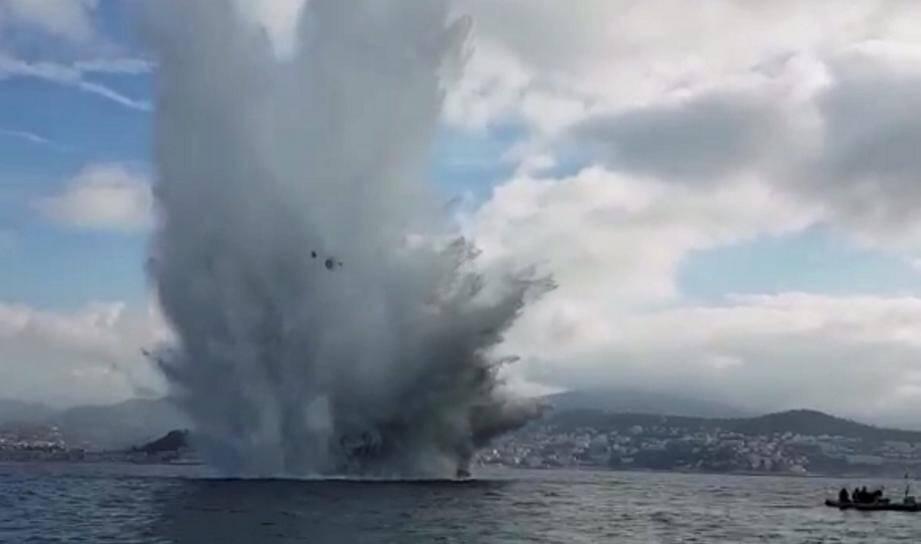 Mai 2017, déminage d'une bombe au large de Nice.