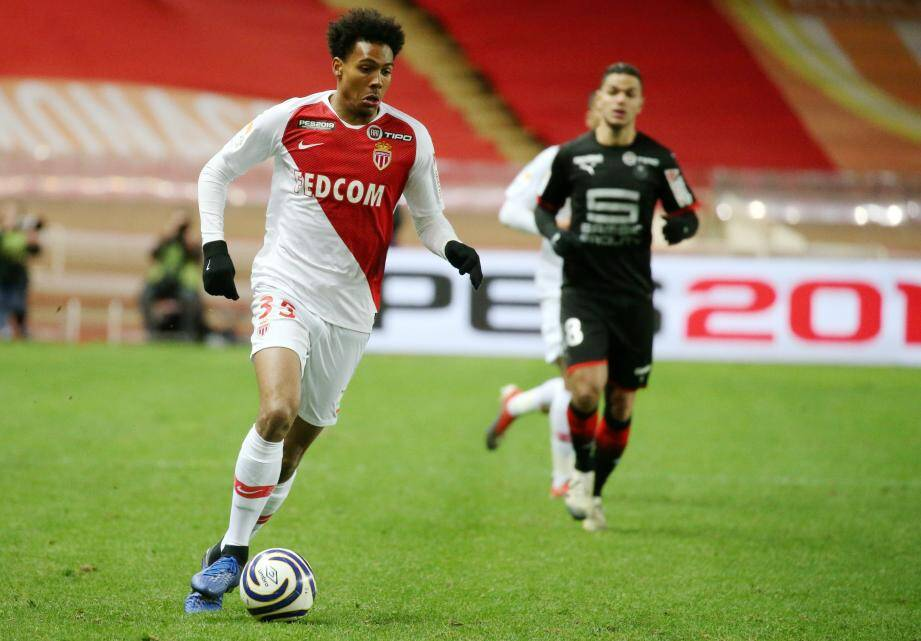 Wilson Isidor, l'unique buteur du match pour la France, ici avec l'AS Monaco contre Rennes en Ligue 1.