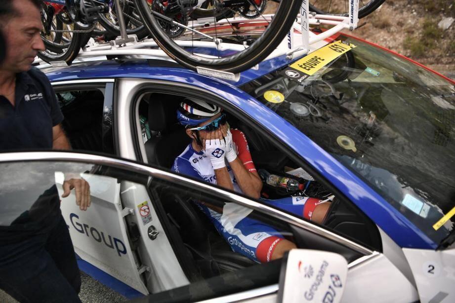 Thibaut Pinot lors de son abandon sur le Tour de France