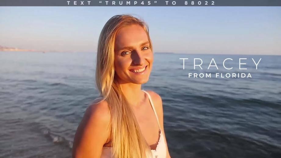 La mannequin est présentée comme Tracey, venant de la Floride aux Etats-Unis.