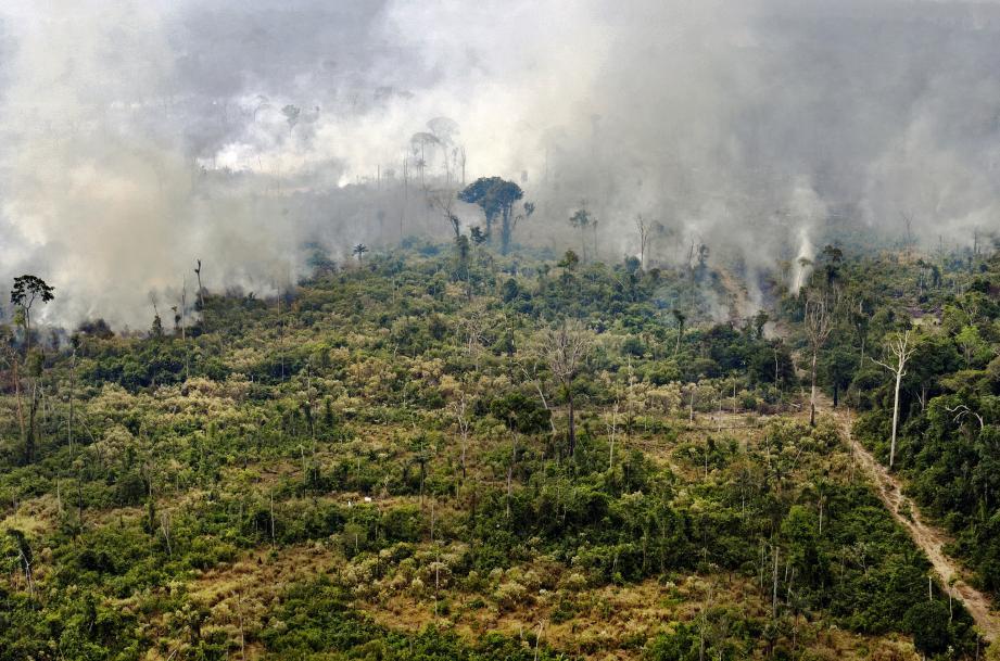 Une vue des incendies dans la zone de Porto Velho dans l'état du Rondonia dans la forêt amazonienne.