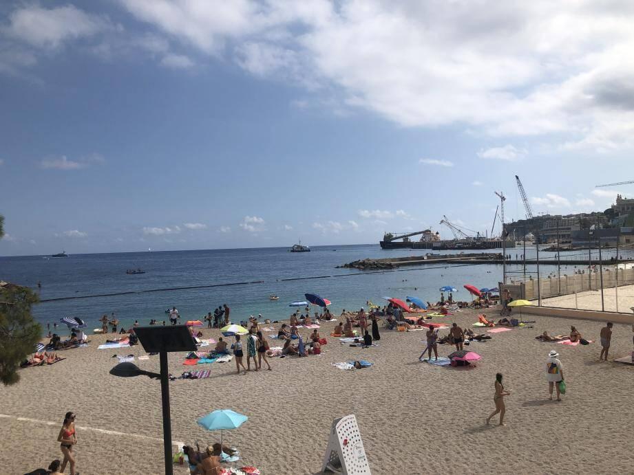 La plage avec vue sur les grues...