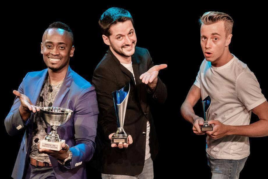 Hervé Dipari, Florent Latreille et Morgan Nègre, premières places de la finale des tremplins du rire.(DR)