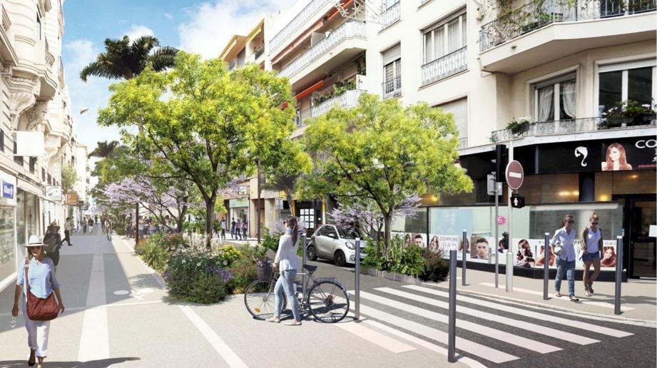 Voilà à quoi devrait ressembler en décembre prochain l'angle rue Maréchal-Joffre - rue du Congrès. Ci-contre : rue Maréchal-Joffre, la phase 1 est lancée avec le décroûtage du revêtement du couloir de bus. (Image de synthèse Ville de Nice et photo Cyril Dodergny)