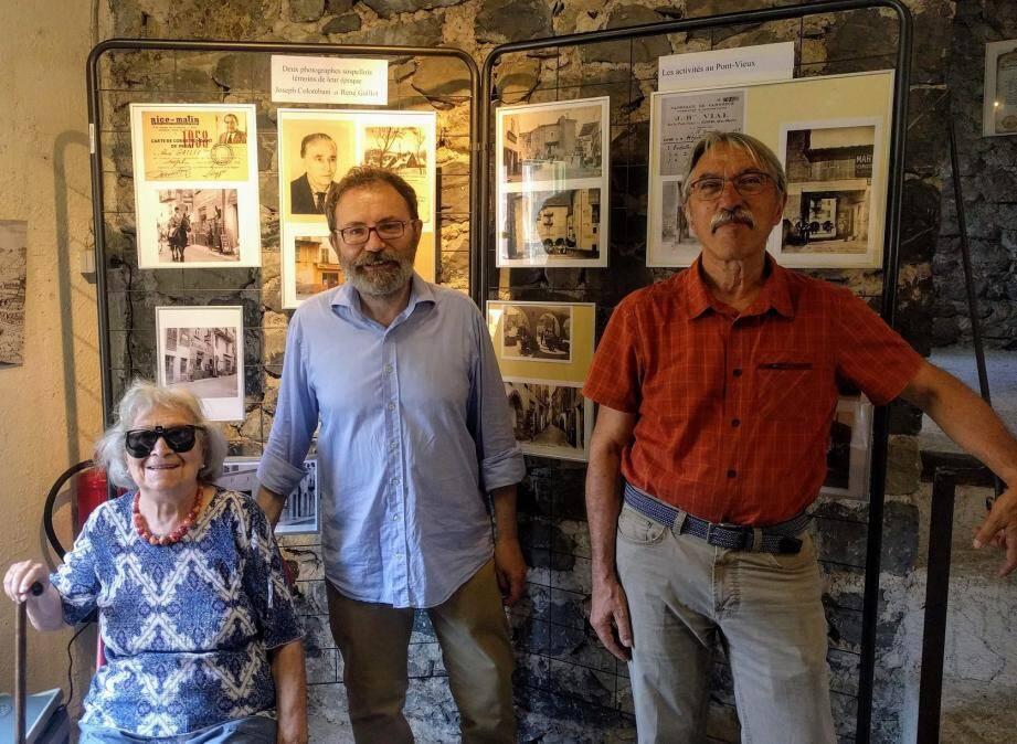 La doyenne, l'ancien président, et le président du Cercle d'études du patrimoine et de l'histoire de Sospel, à l'origine de cette exposition.
