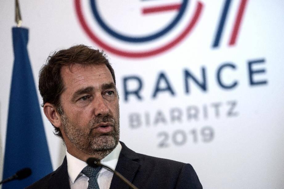 Le ministre de l'Intérieur Christophe Castaner, le 20 août 2019 lors d'une visite à Biarritz avant le sommet du G7