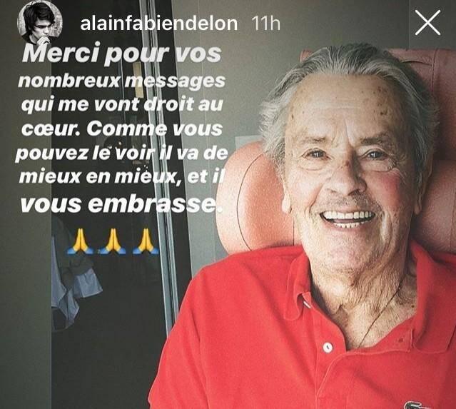 Alain Fabien Delon a posté une photo de son père sur sa story Instagram, ce dimanche 11 août.