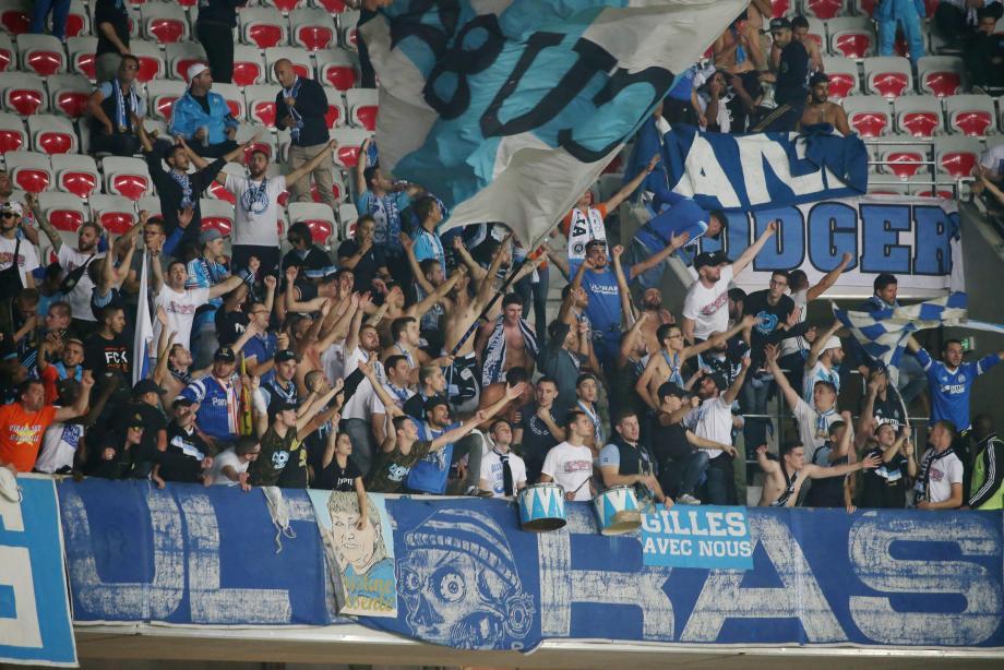Les supporters de l'OM à l'Allianz Riviera en octobre 2017