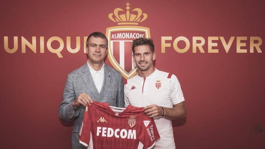 Le vice-président de l'AS Monaco Oleg Petrov en compagnie d'Adrien Silva.