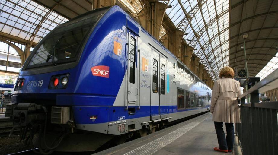 Un train en gare de Nice (image d'illustration).