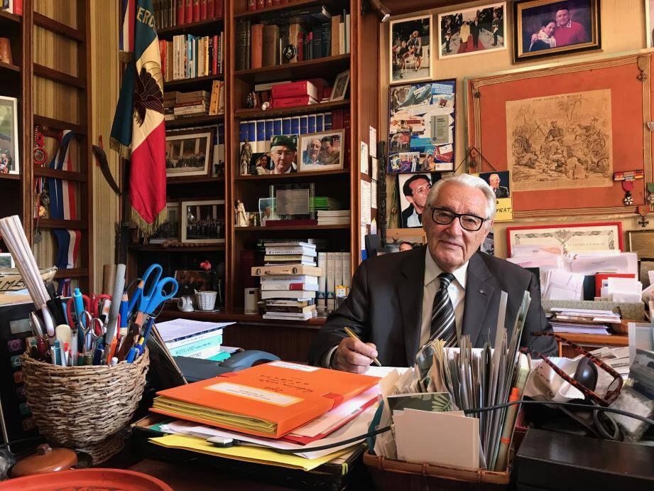 Jacques Peyrat, 87 ans, dans sa villa de Cimiez.