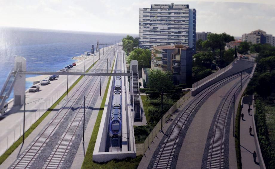 Ci-dessus, une maquette du projet de bifurcation de la ligne Cannes-Grasse.(Repro DR)