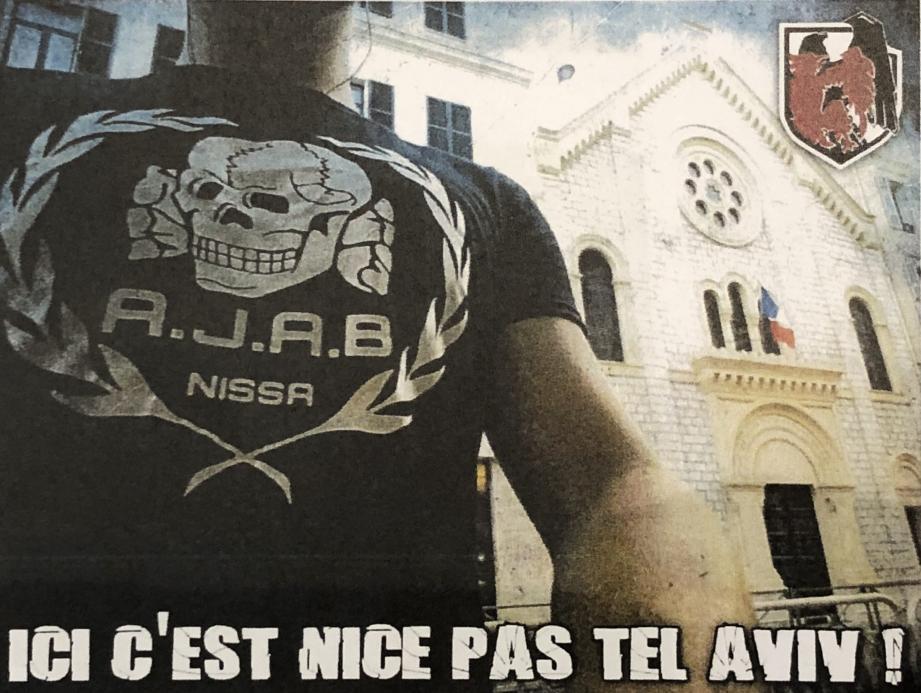 Sur ce photomontage posté sur Internet le 14 juillet 2018, un homme exhibe un t-shirt AJAB (« All jews are bastards ») devant la synagogue de la rue Deloye.(DR)