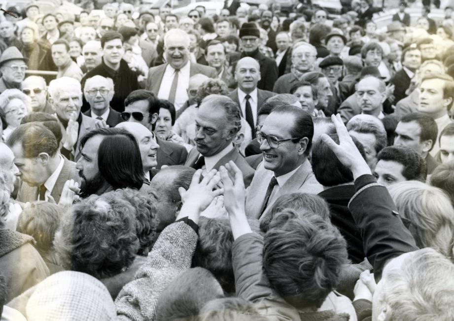 Meeting de campagne à Nice lors de la présidentielle de 1981 en compagnie de Jacques Médecin.