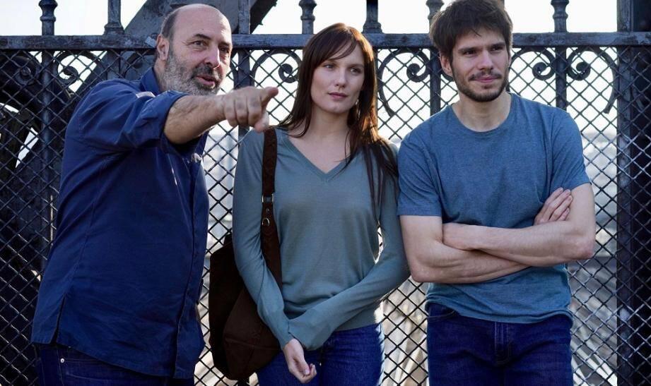 Cédric Klapisch et les deux comédiens vedettes de Deux moi, Ana Girardot et François Civil.