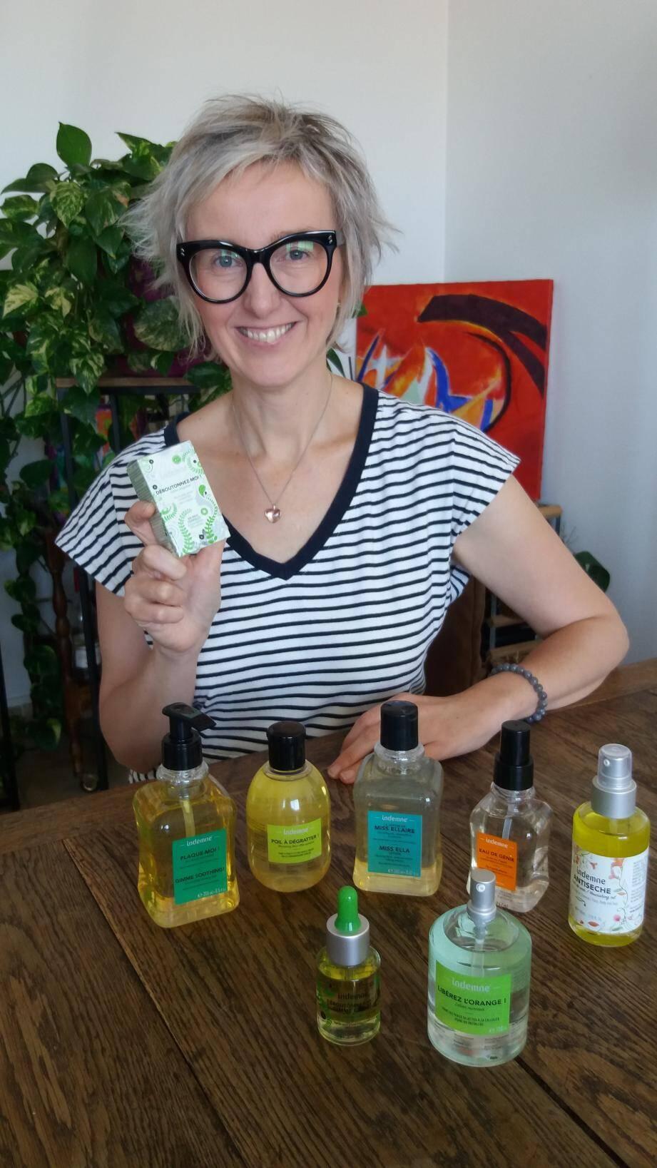 Poil à dégratter, Libérez l'orange... Les produits à base d'huiles essentielles d'Indemne portent tous des noms décalés et humoristiques.