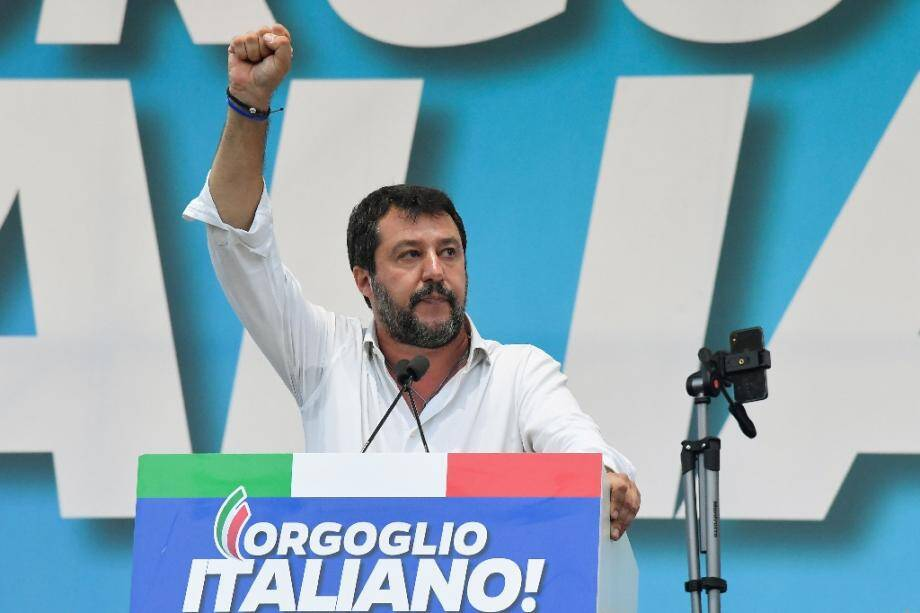 """Far-right leader Matteo Salvini hailed the results of Sunday's vote as """"extraordinary"""""""