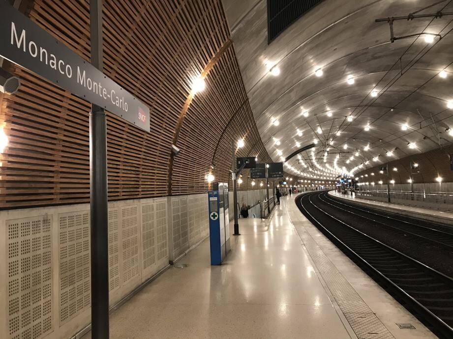 La gare de Monaco, comme un soir à 23h...