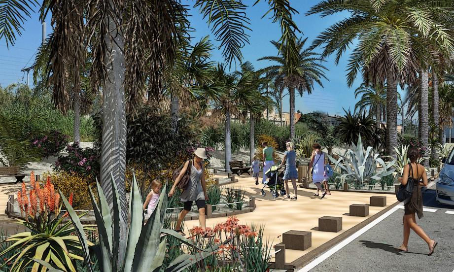 Voilà ce que deviendra le futur jardin public face à l'entrée de la route du bord de mer. Ci-contre, l'architecte des bâtiments de France