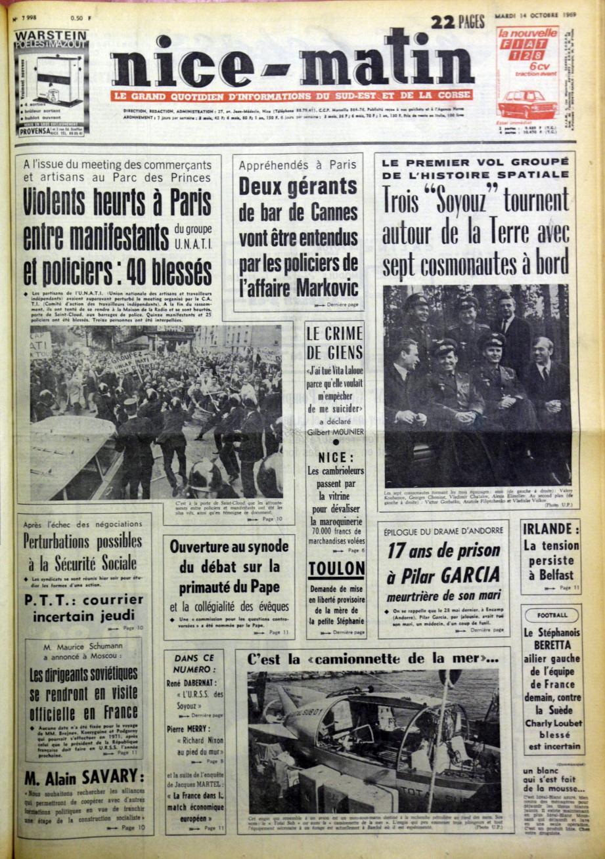 A la « Une » de Nice-Matin du 14 octobre 1969 : au-dessus de nos têtes, tout un équipage russe voyage...(Repro DR)