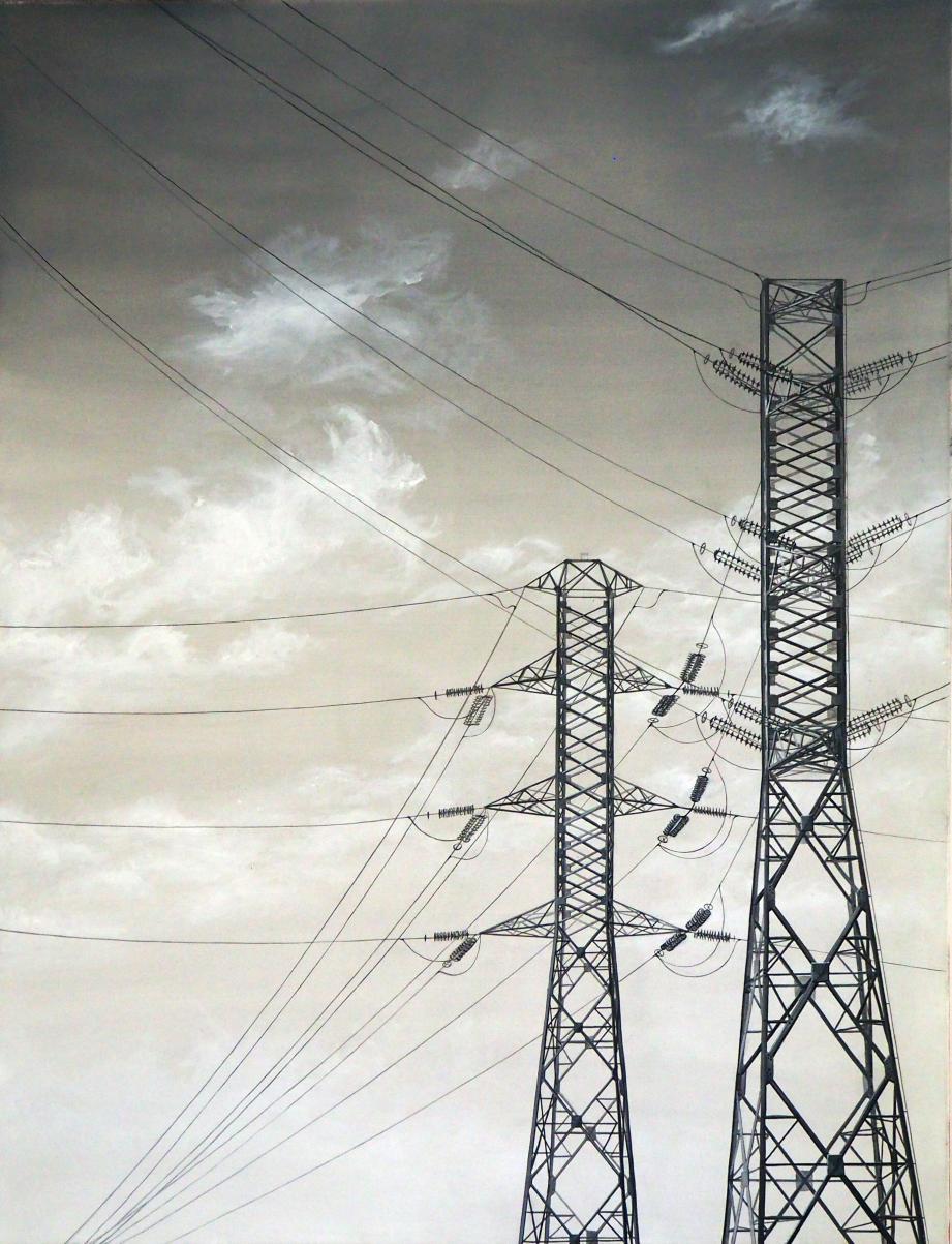 Tandis que les pylônes quadrillent le ciel de leurs lignes rectilignes…