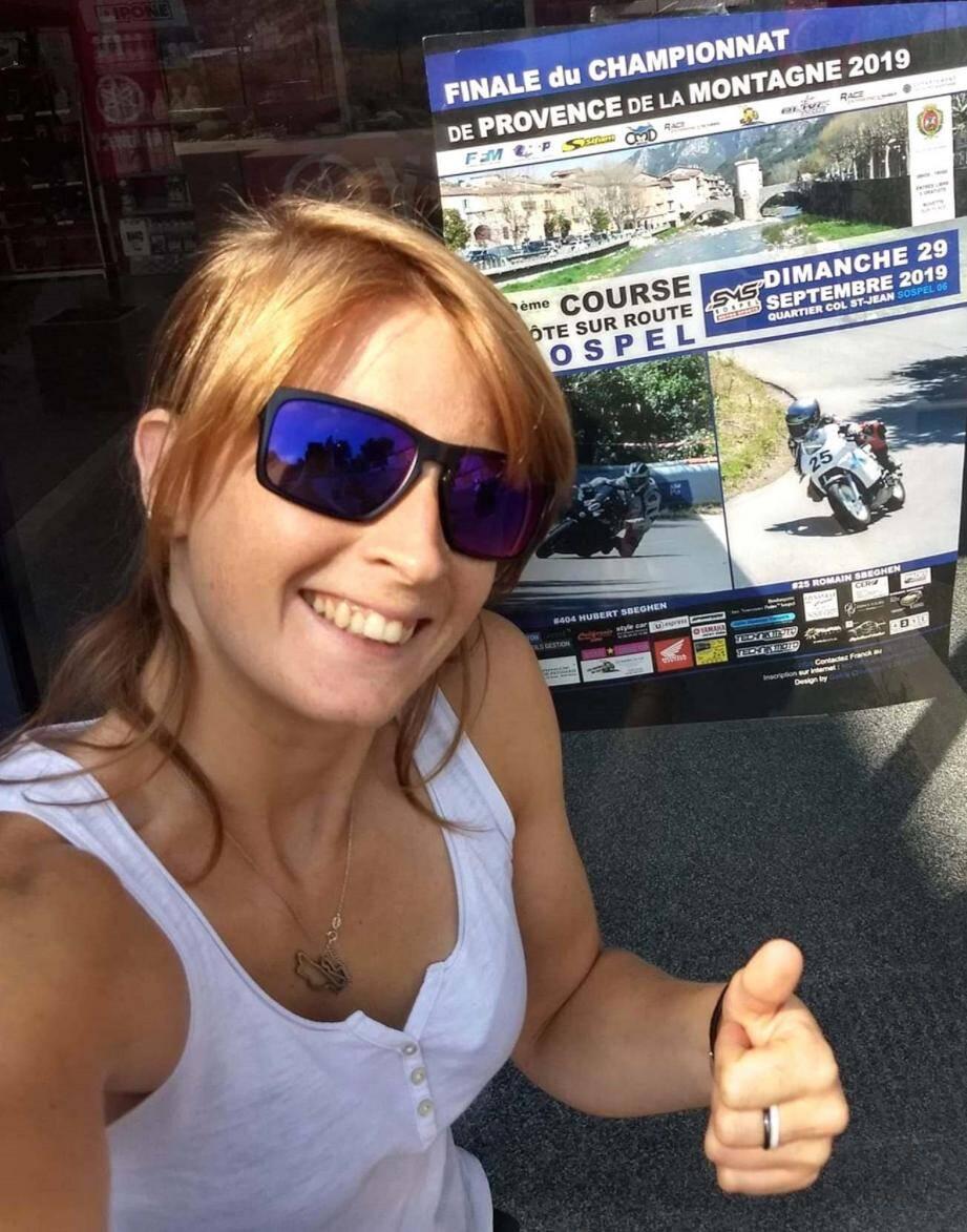 La Niçoise Mélodie Coignard ne rate jamais la course de côte de Sospel. Cette année, elle a couru sur une mini-moto italienne : « Super fun ! »(DR)