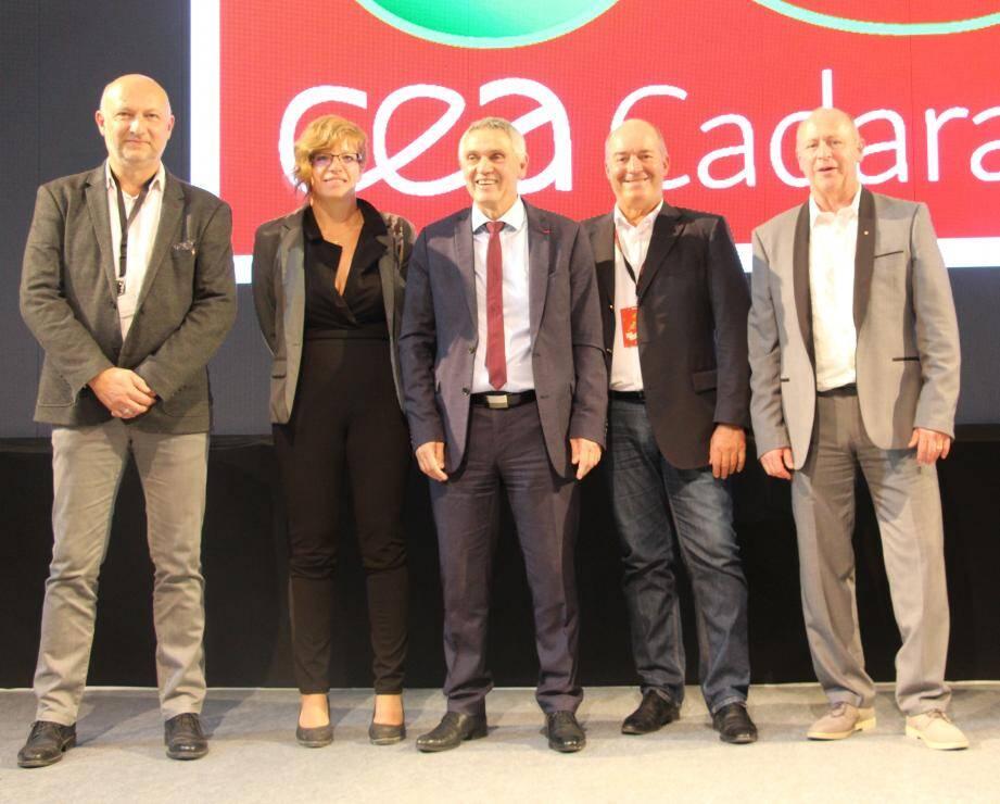 Les maires de Ginasservis et Vinon, communes concernées par le CEA, et Emmanuel Hugou de Saint-Julien (village non touché, mais collaborateur CEA).