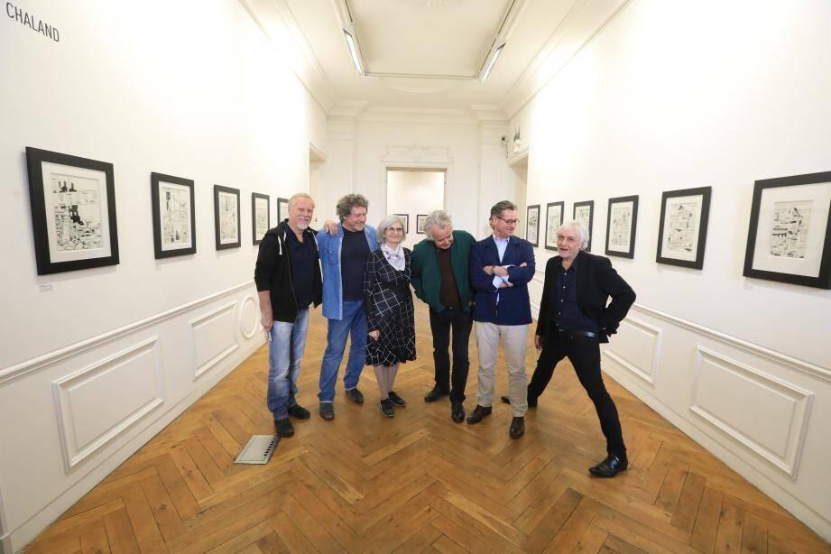 Frank Margerin, Philippe Gauckler, Isabelle Chaland, Jacques de Loustal, François Avril, Serge Clerc, vendredi dernier.