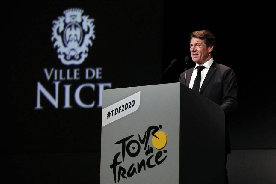 """Christian Estrosi, mardi à  Paris : """"Le Tour est la plus belle carte postale vivante de la France dans le monde. Le départ à Nice, ce seront trois jours de fête !"""""""