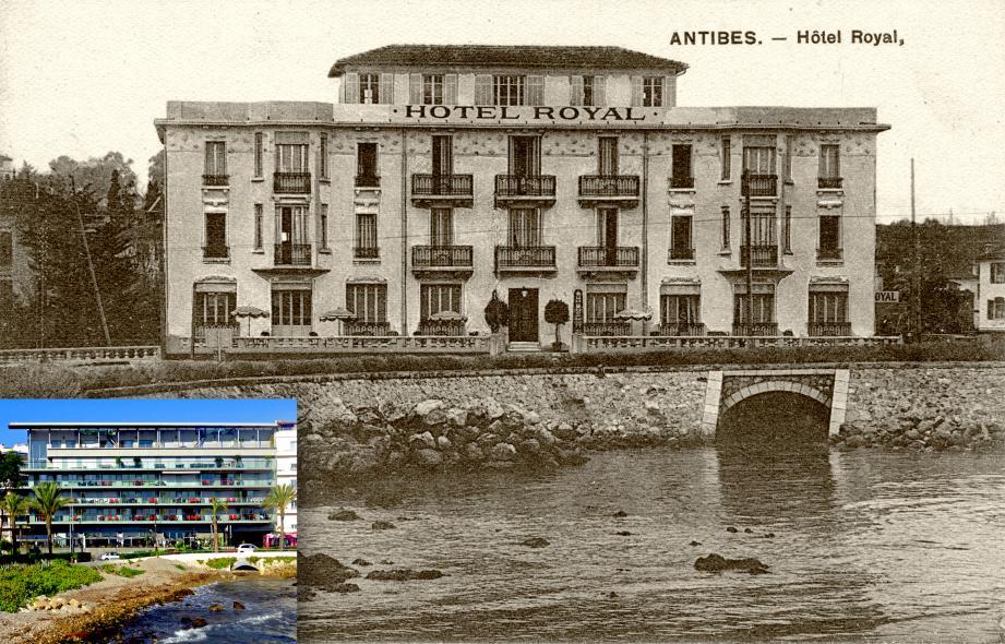 L'ancienne façade de l'hôtel Royal avec, en incrustation, la nouvelle.