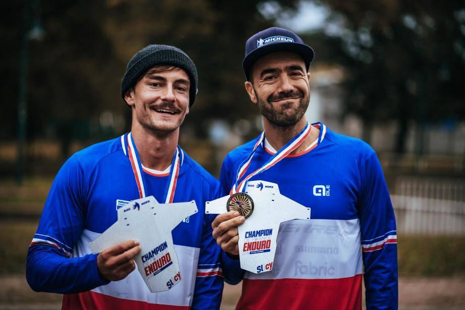Joli doublé pour la paire Dailly/Vouilloz. Les deux pilotes azuréens du team Lapierre décrochent respectivement les titres nationaux de VTT Enduro et VTT Enduro à Assistance Electrique 2019.