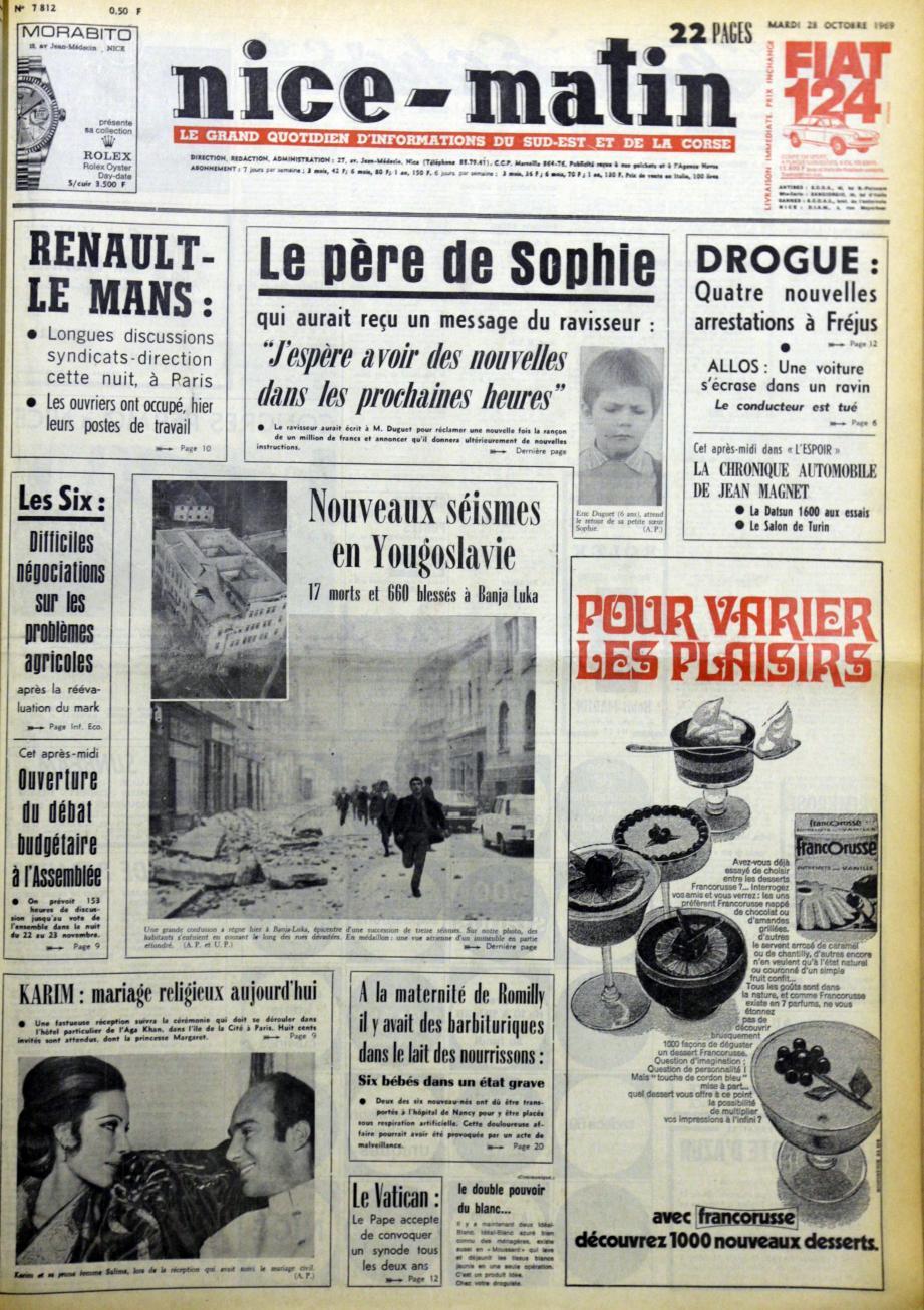 A la « Une » de Nice-Matin du 28 octobre 1969.(Repro DR)