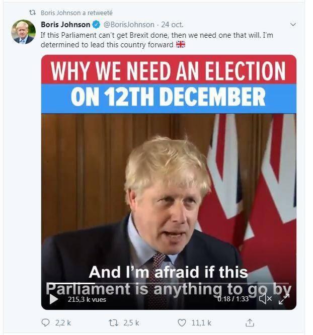 En représailles à un Parlement qui reste rétif, Boris Johnson a appelé à des élections législatives anticipées.(Capture Twitter)