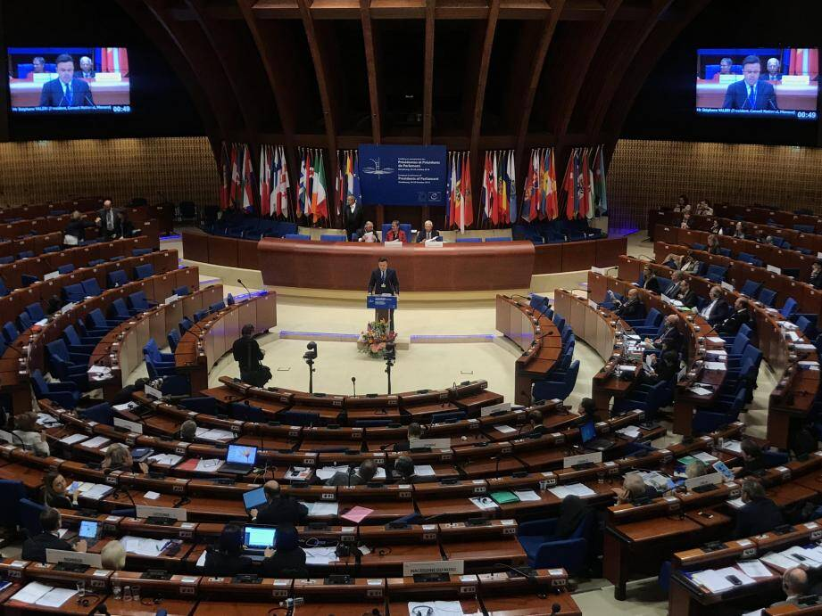 Stéphane Valeri, à la tribune du Conseil de l'Europe.(DR)