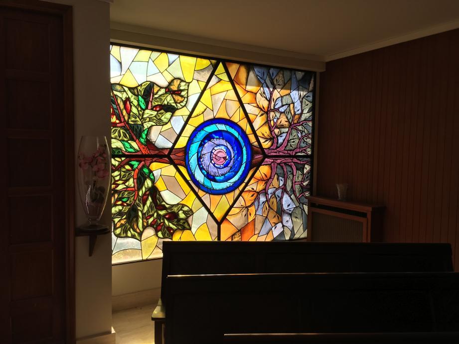 Les vitraux remarquables de la chapelle de la Résurrection.(DR)