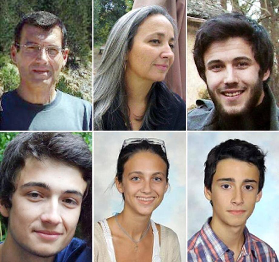 Xavier et Agnès Dupont de Ligonnès, et leurs quatre enfants. Montage fourni par la police le 21 avril 2011
