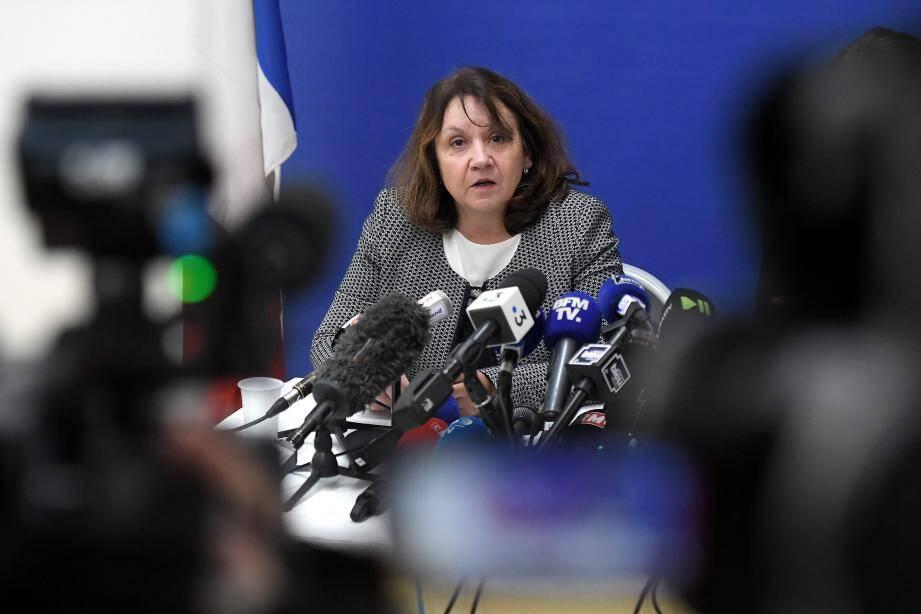 La procureure de Strasbourg Yolande Renzi lors d'une conférence de presse.