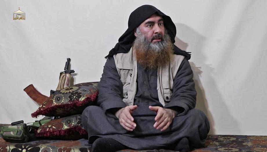 Le chef du groupe Etat islamique Abou Bakr al-Baghdadi tel qu'il est apparu dans une vidéo diffusée sur internet le 29 avril 2019.