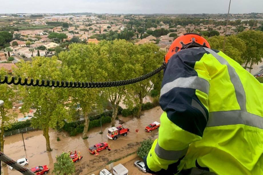 Photo diffusée par la Sécurité civile le 23 octobre 2019 des inondations à Villeneuve-les-Béziers