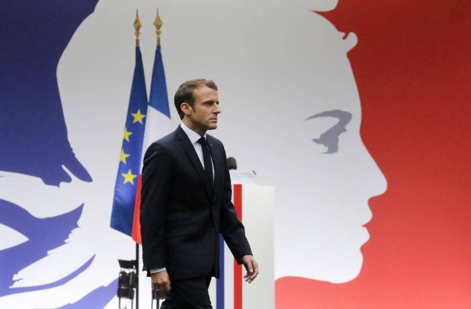 Le président Emmanuel Macron le 8 octobre 2019 à Paris lors de l'hommage aux victimes de l'attaque de la préfecture de police de Paris