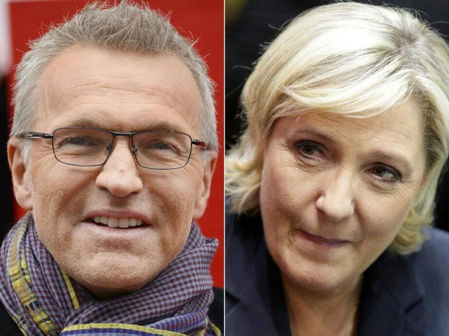 L'animateur de télévision Laurent Ruquier et la présidente du Rassemblement National Marine Le Pen