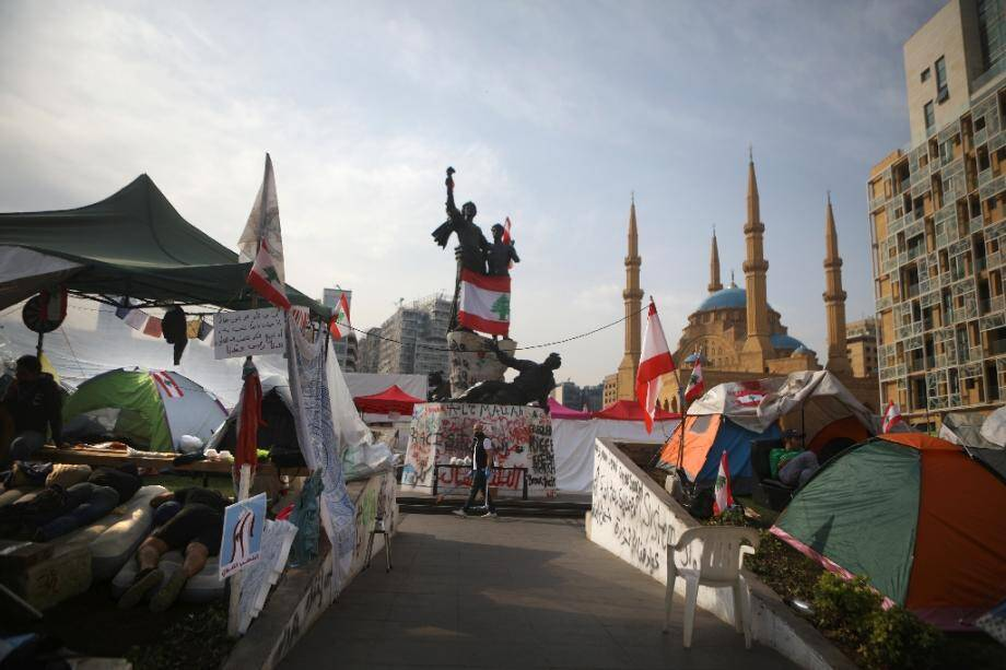 Des tentes installées par les manifestants dans le centre-ville de Beyrouth, le 26 octobre 2019