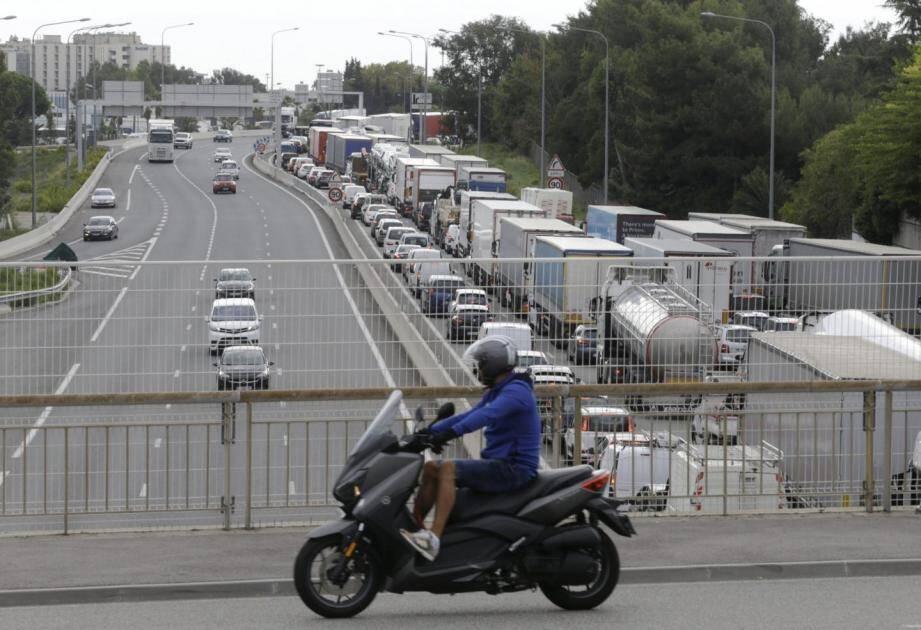 L'autoroute A8 à Nice-Saint-Augustin, mercredi matin.