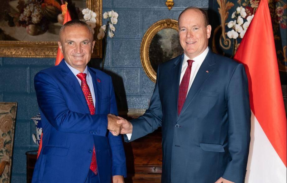 Le prince Albert II a reçu au Palais le Président albanais Ilir Meta.