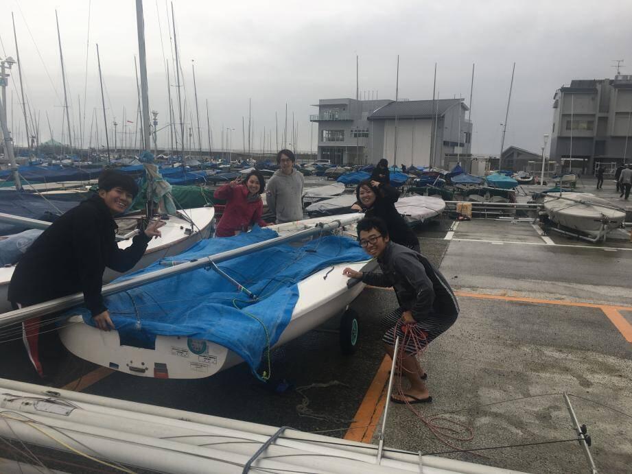 Au port d'Enoshima, qui accueillera les épreuves de voile en 2020 pour les jeux olympiques.