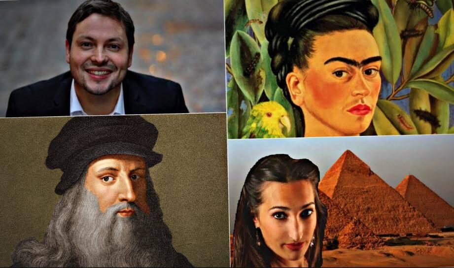 Au programme, une conférence sur Frida Kahlo (en haut, à droite) et une autre sur Leonard de Vinci (en bas, à gauche). Parmi les nouveautés, la conférence donnée par l'egyptologue Amandine Marshall (en bas, à droite) et le concert inaugural de Gabriel Jublin (en haut, à gauche)