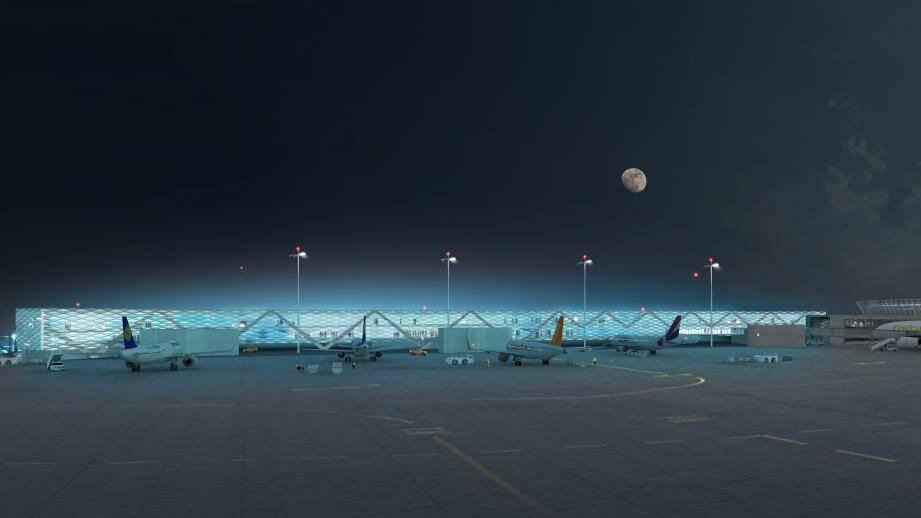 La fameuse « jetée » d'embarquement et débarquement, en projet. (Image de synthèse Stéphane Aurel/Saca)