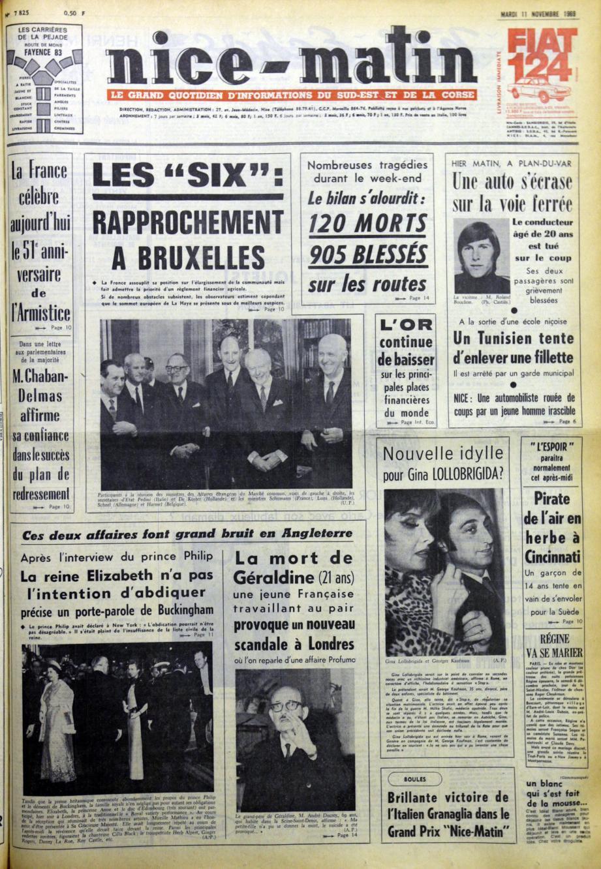 A la « Une » de Nice-Matin du 11 novembre 1969.(DR)