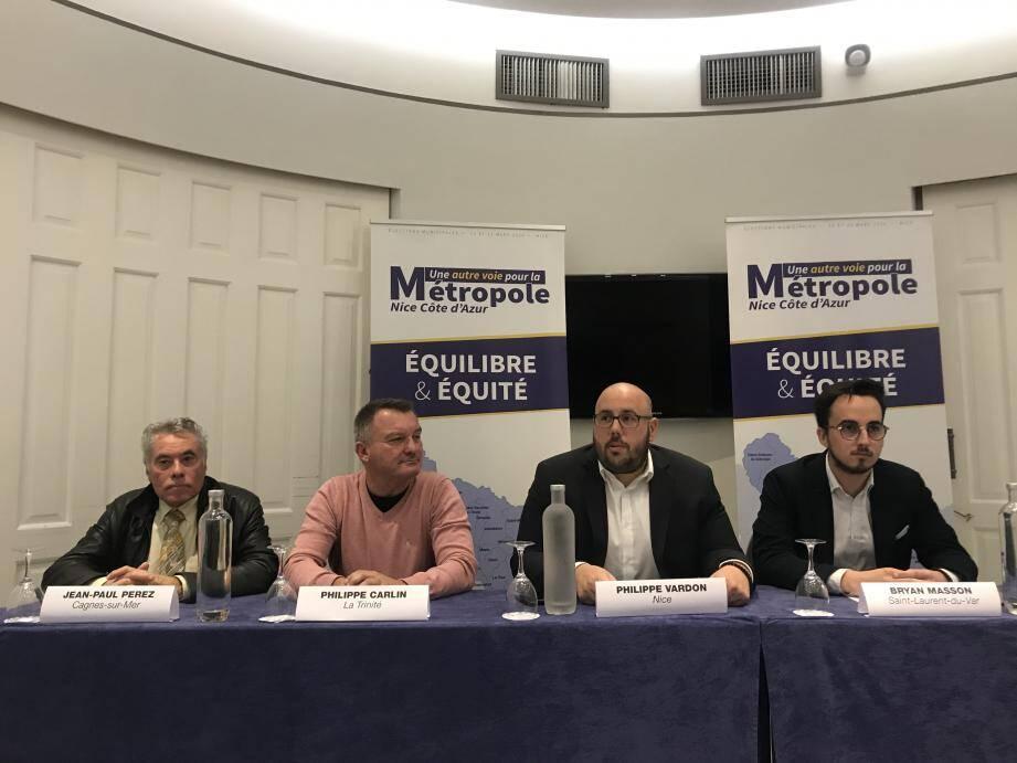 De gauche à droite : Jean-Paul Perez, candidat à Cagnes, Philippe Carlin pour La Trinité, Philippe Vardon, candidat à Nice et pour Saint-Laurent, Bryan Masson.