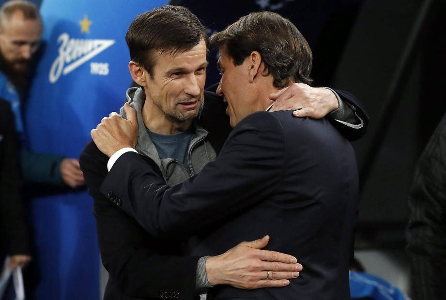 Rudi Garcia et Serguei Semak, le coach du Zénith, mercredi.